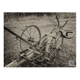 Vintage agricultural machine postcard