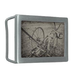 Vintage agricultural machine rectangular belt buckles