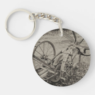 Vintage agricultural machine Single-Sided round acrylic keychain
