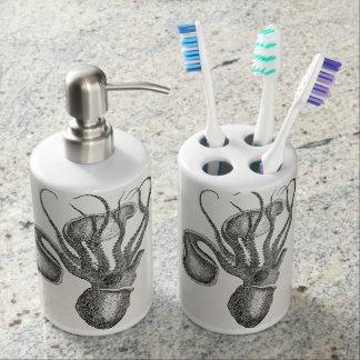 Vintage Agronaut Squid Octopus - Aquatic Template Soap Dispenser And Toothbrush Holder