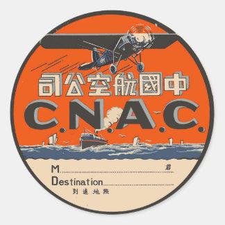 Vintage Air Travel Label Round Sticker