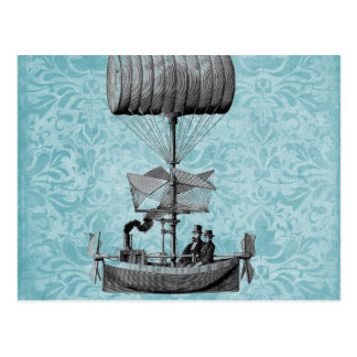 Vintage Airboat |Blue Damask Postcard