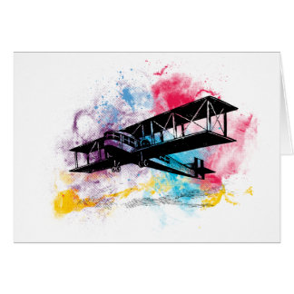 Vintage Aircraft with colorful clouds Card