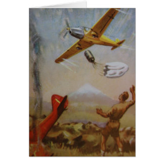 Vintage Aircraft with Parachute Card