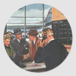 Vintage Airline Ticket Counter with Passengers Round Stickers