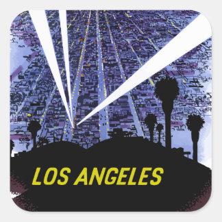 Vintage Airline Travel Los Angeles Square Sticker