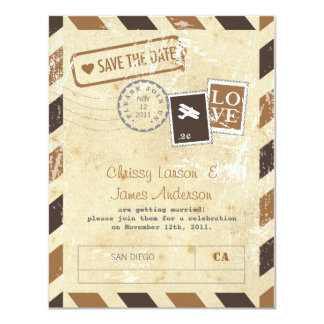 Vintage Airmail Invitation Card