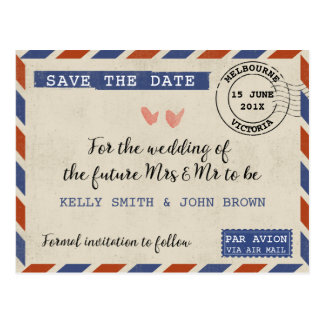 Vintage Airmail Save The Date Postcard
