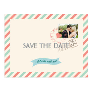 Vintage Airmail Wedding Save the Date with photo Postcard
