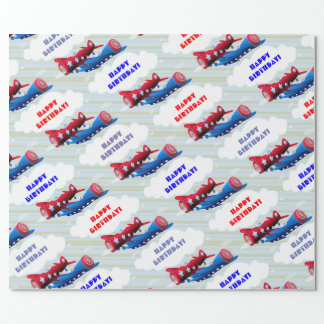 VIntage Airplane Airforce Airshow Aviator Stripes Wrapping Paper