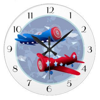 Vintage Airplane Aviator Airforce Airshow Large Clock