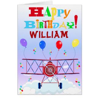 Vintage Airplane Aviator Balloons Birthdays Card
