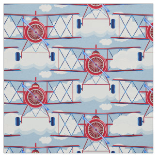 Vintage Airplane Aviator Travel Adventure Pilot Fabric