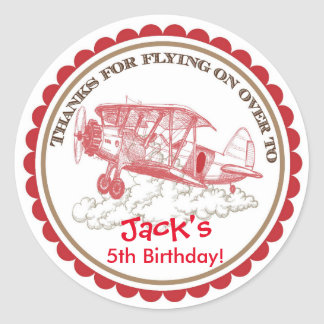Vintage Airplane Birthday Stickers