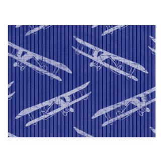 Vintage Airplane Blue Postcard