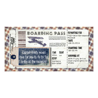 Vintage Airplane Boarding Pass Card