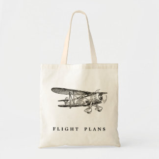 Vintage Airplane, Flight Plans Budget Tote Bag