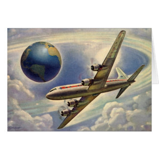 Vintage Airplane Flying Around the World in Clouds Greeting Card