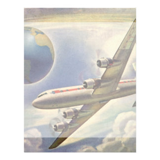 Vintage Airplane Flying Around the World in Clouds Personalized Letterhead