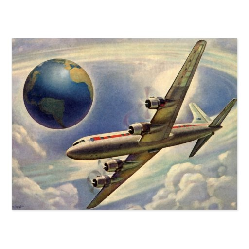 Vintage Airplane Flying Around the World in Clouds Postcards