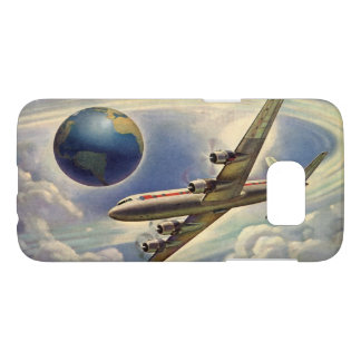 Vintage Airplane Flying Around the World in Clouds Samsung Galaxy S7 Case
