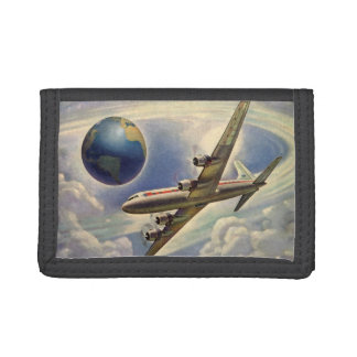 Vintage Airplane Flying Around the World in Clouds Trifold Wallet