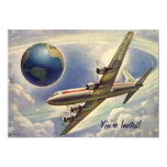 Vintage Airplane Flying Around World Couple Shower Personalized Announcement
