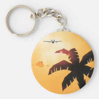 Vintage Airplane Flying Over Hawaii and Palm Tree Key Chain