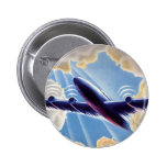 Vintage Airplane Flying Through Clouds Blue Sky Button