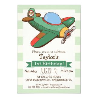Vintage Airplane on Pastel Green Stripes 5x7 Paper Invitation Card