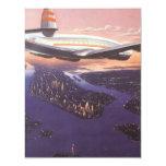 Vintage Airplane over Hudson River, New York City