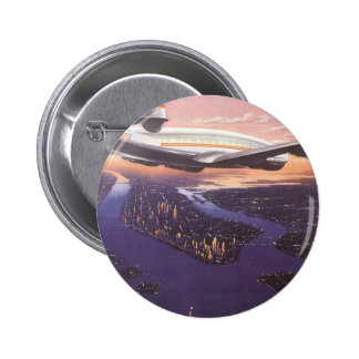 Vintage Airplane over Hudson River, New York City 2 Inch Round Button