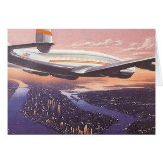 Vintage Airplane over Hudson River, New York City Card