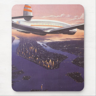 Vintage Airplane over Hudson River, New York City Mouse Pad