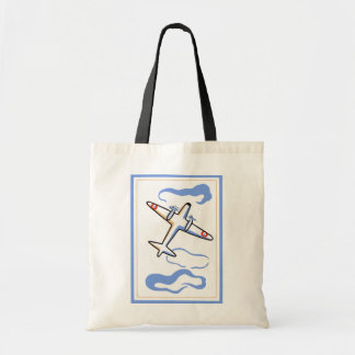 Vintage Airplane Print Tote Bag