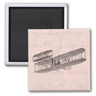 Vintage Airplane Retro Old Biplane Plane Pink Magnet