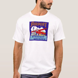 Vintage Airport Airplane Pilot Trip Whiskey Label T-Shirt