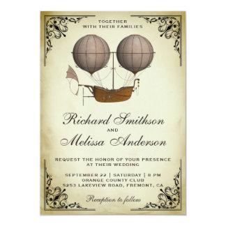 Vintage Airship Hot Air Balloon Wedding Invitation