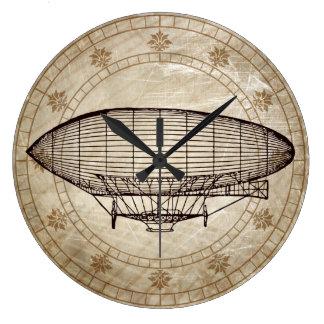 Vintage Airship Large Clock