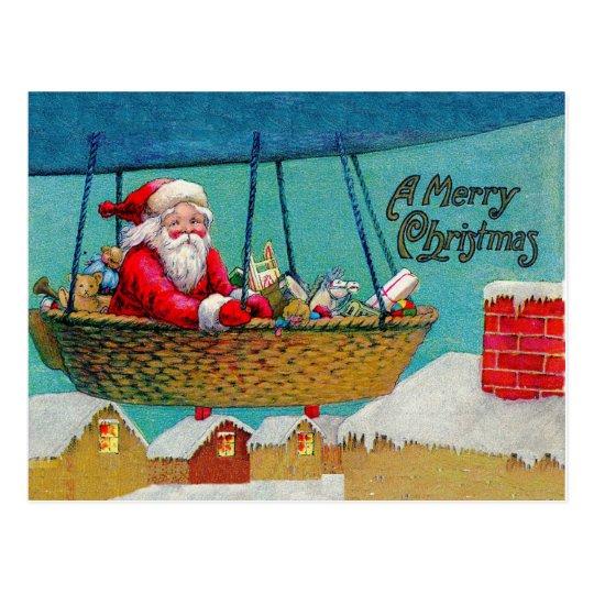 Vintage Airship Santa Christmas Postcard