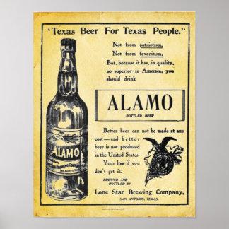 Vintage Alamo Beer Poster Print