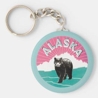 Vintage Alaska Basic Round Button Keychain