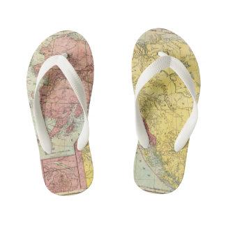 Vintage Alaska Map Kid's Flip Flops