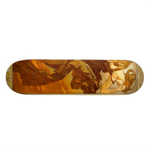 Vintage Alfons M. Mucha Skate Board Deck
