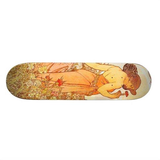 Vintage Alfons M. Mucha Skate Board