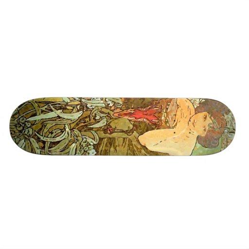 Vintage Alfons M. Mucha Skate Deck