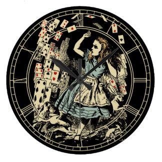Vintage Alice Cards Flying Large Clock