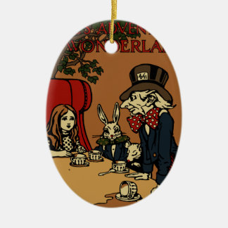 Vintage Alice Cover Mad Tea Party Ceramic Oval Ornament