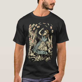 Vintage Alice Flying Cards Dark T-Shirt
