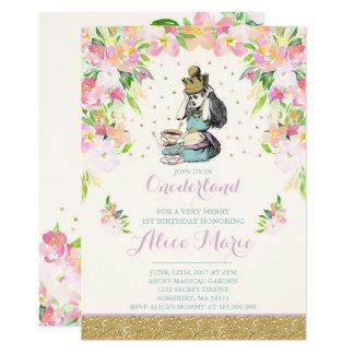 Vintage Alice In ONEderland Birthday Invitation